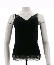 Rhonda Shear Pin-Up Lace Trim Padded Knit Camisole ONE Piece  Black  Medium