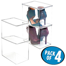 Tall Shoe Box mDesign Closet Storage Organizer Pack of 4 Clear Acrylic Stackable