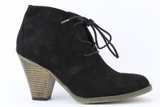 Mia Black Faux Suede Shawna Lace-up Bootie Size 6.5M
