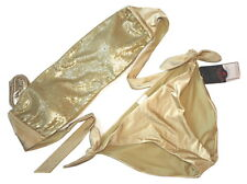 Xhilaration Lg Shimmery Gold Bling Sequin Bandeau Halter 2pc Bikini Swimsuit NEW