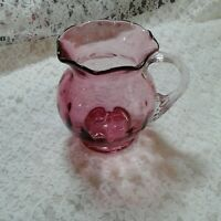 """Vintage Cranberry Glass 4"""" Pitcher Ruffled Rim Applied Clear Handle Hand Blown"""