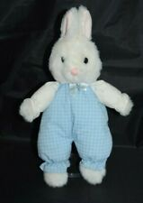 Vintage 1989 Dakin White Easter Bunny Plush Stuffed Animal Blue Outfit 13""