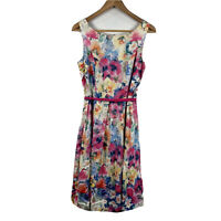 Diana Ferrari Womens Dress Floral Multi Coloured Size 8 With Belt