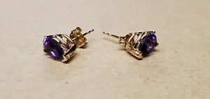 14K Yellow Gold Signed CID Earrings Stud Amethyst 0.99 Grams Marked Tested