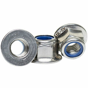 M4 M5 M6 M8 M10 M12 A2 STAINLESS STEEL FLANGED NYLOC NUTS FLANGE NUTS DIN 6926