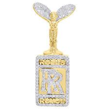 0.62 CT 14K Yellow Gold Finish Diamond Rolls Royce Logo Pendant Mens Pave Charm.