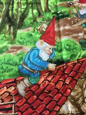 RPF24 Forest Gnomes Lawn Retro Scandinavian Style Log Cabin Cotton Quilt Fabric
