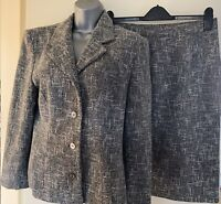 Kaliko Black Grey & White Boucle Style Wool Blend Skirt Suit Size 14 Smart Work