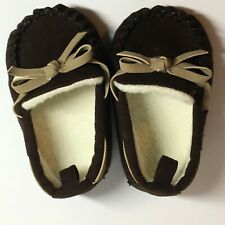 Rising Star Moccasins Soft Slippers Brown Size 6-9 months Boy/Girl w/Bow