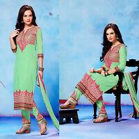 LTMINTGRN COTTON INDIAN SALWAR KAMEEZ SUIT DRESS MATERIAL RESHAM EMBR LADIES DEN