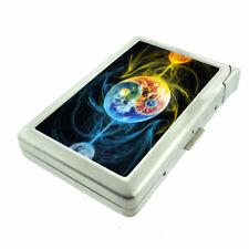 Fire Ice Yin Yang Em3 Cigarette Case with Built in Lighter Metal Wallet