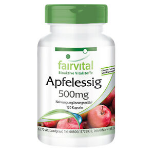 Apfelessig 500 mg - 120 Kapseln   erfrischt und regeneriert   VEGAN   fairvital