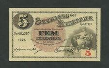 More details for sweden  5 kronor  1923  p33f  ef  banknotes