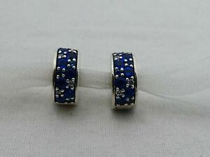 Pair of Estate Pandora Sterling Silver Blue CZ Clip Beads DS-19