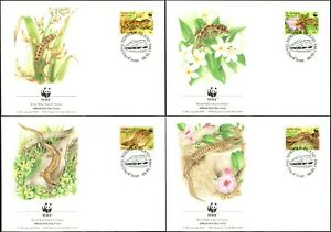 1996 Norfolk Island Skinks & Geckos Set Of 4 On 4 WWF Official FDCs, Mint Cond