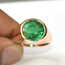 Round Faceted Green Emerald Gemstone 14K Rose Gold Silver Men's Ring Size 8.5