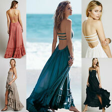 Women Lady Summer Beach Dress Sexy Backless Straps Maxi Evening Party Long Dress