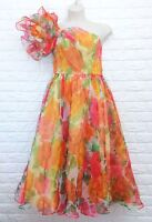Halloween Vintage Dress 14 16 Floral Blogger 80s 90s Prom Theatre Costume Kitsch