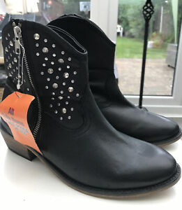 NEXT BLACK LEATHER STUDDED COWBOY WESTERN ANKLE BOOTS EU 41 UK7 NEW WITH TAGS