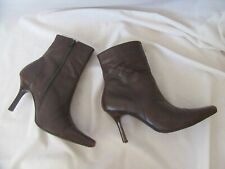 Faith Chocolate Brown High Stiletto Heeled Pointy Toe Leather Boots Size 5