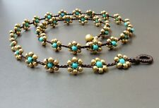 Flower Turquoise Brass Bead Bracelet/Necklace
