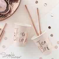 TEAM BRIDE CUPS / STRAWS - Pink/Rose Gold Hen Party Accessories - RANGE IN SHOP