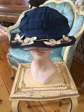 Adorable Antique Victorian Ladies Hat Navy Blue Millinery Flowers #4