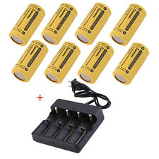 8PCS CR123A 123A CR123 16340 2800Mah Rechargeable Battery BTY Black + UL Charger