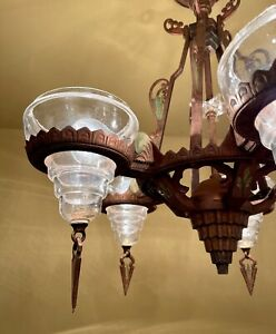 Vintage Lighting 1930s Art Deco slip shade ceiling fixture and pair sconces! WOW