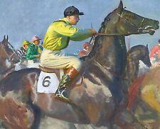 "Sir Alfred Munnings, Yellow Jockey, Horse Racing, antique decor,  20""x16"" ART"