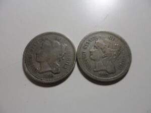 """1868 (2) Three Cents Nickel Coins (VG & F) on 75% Copper 25% Nickel  """"Nice Pair"""""""