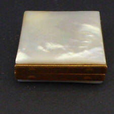 Marhill Pill Box Keepsake Photo Holder Lucite Faux Mother Pearl Hinged Lid Vtg