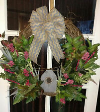 Grey Chevron Burlap Bow and Grey Birdhouse Grapevine Door Wreath