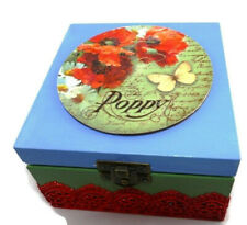 Wooden Jewellery Box Organizer Jewelry holder craft box Christmas gift Poppy