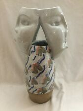 """Art Pottery Face Vase,Two Sided 3d Double Face Stoneware Figure 13 1/2"""" TALL"""