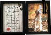 "Pet Memorial 5""x7"" Picture Frame for Dog or Cat with Ribbon and Tag"