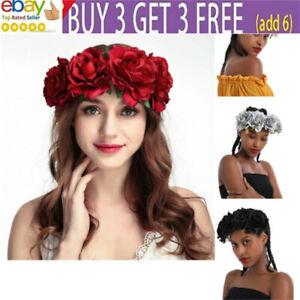 Women Rose Flower Crown Headband Garland Festival Wedding Party Hairband da