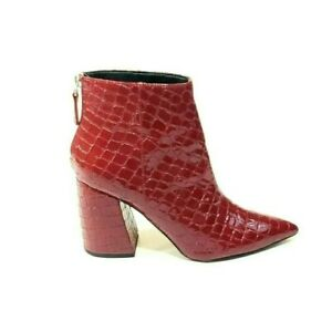 Topshop Booties Heel Pointed Toe Red Patent Leather Croc Print US 8
