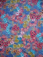 690cm Harlequin Florina Brushed Chenille Cotton Curtain Fabric Coral/blue