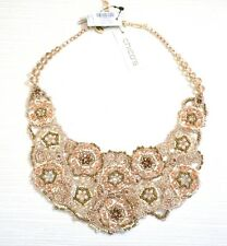 NWT $89 Chico's Rosabel Bib Necklace, Pink / Gold / Multi