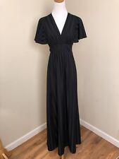 Vintage 60s 70s Black Flutter Sleeve Maxi Dress Gown V-Neck Festival Boho S/M