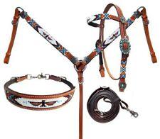 Showman 4 Piece Beaded Native American Thunderbird Headstall & Breast Collar Set