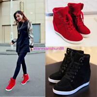 Women's Lady High Top Lace Up Sneaker Hidden heel Wedge Heel Ankle Boots Shoes