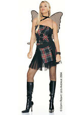 *Sexy Plaid Strappy Punk Fairy Costume Party Fishnet Wings Skirt Top S M