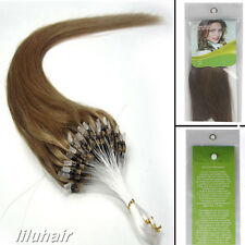 16''Loop Micro Rings Beads Tip straight Remy Human Hair Extensions100S 10 New
