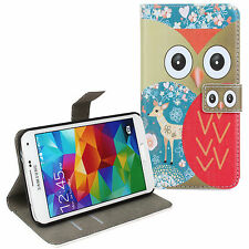 for Samsung Galaxy S5 Red Owl Design Leather Wallet Card Case Cover Stand