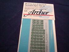 ARCHER FINE TRANSFERS 8TH ARMY ARM SERVICE FORMATION SIGNS AR35067.5 1:35 NEW