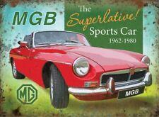 15x20cm MGB the superlative classic sports car metal advertising wall sign