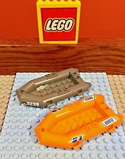 LEGO Lot Of 2 Rafts Dingys Boats Orange & Gray 30086 60012 City 7239 - FREE US
