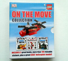 LEGO ON THE MOVE COLLECTION 3 BOOKS, 100 STICKERS & HELICOPTER MODEL WAS £14.99
